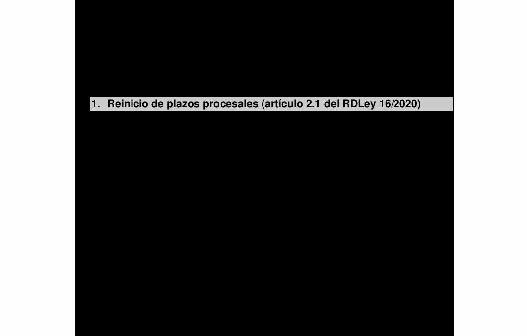 Totem – AEDAF Nota plazos procesales finalización Estado de Alarma Mayo 2020